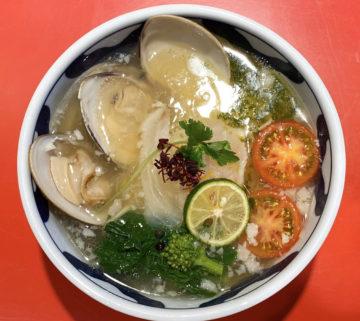 鯛と蛤の背脂塩ソバと鯛の漬け飯