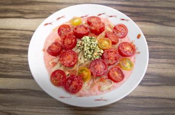 北海道天塩町竹之内農園のアイコトマトの冷やし麺
