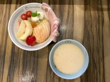 山梨県かわかみ農園盛りの桃つけ麺