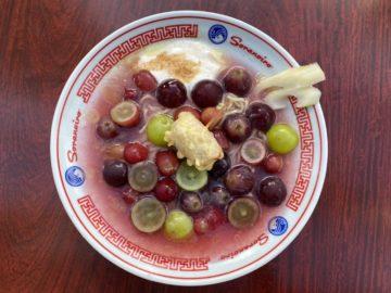 島根県産希少ぶどうの神紅とピオーネの冷やし麺